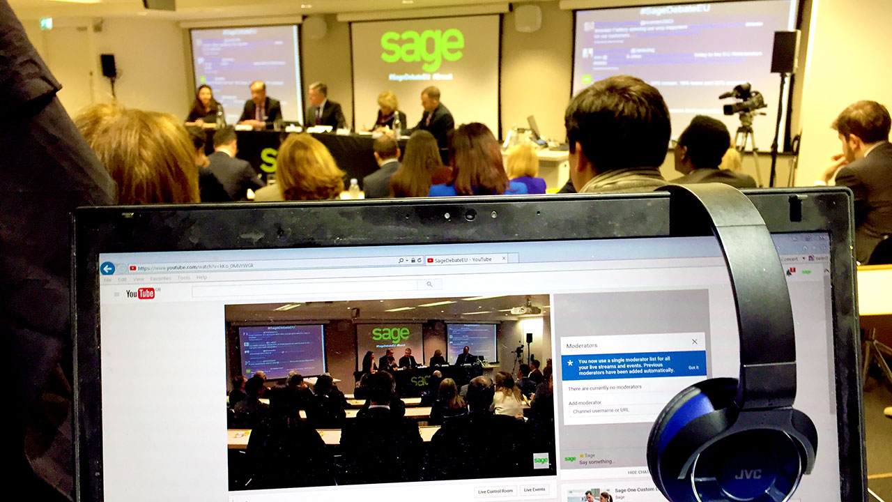 webcast debates sage webcast company stream live event from shard streamed to private website streaming from event production company WaveFX 360 streaming