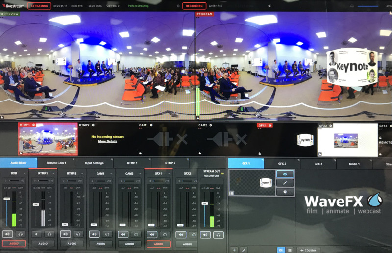 vision mixing 360 webcast 360 live vision mixing and webcasting via LiveStream HD550 - WaveFX